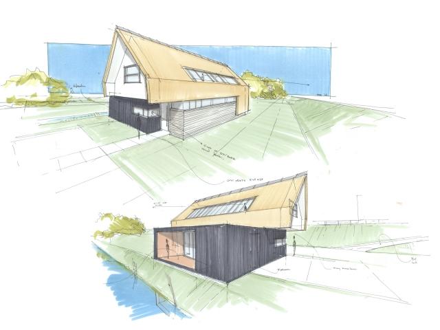 Schetsontwerp voor een eigentijds woonhuis in de polders rondom Zuidland