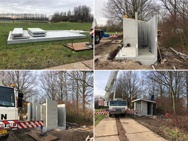 De eerste toiletgebouwen in het recreatiegebied op Voorne-Putten zijn geplaatst
