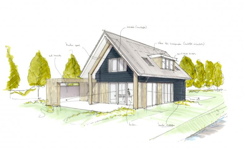 Een nieuw woonhuis aan het Slingerbos in Brouwershaven