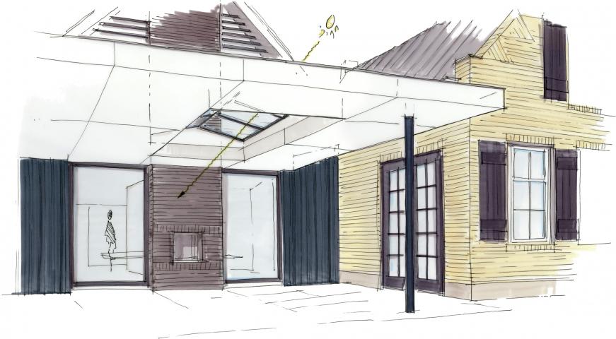 Veranda als verbindend element tussen oud- en nieuwbouw